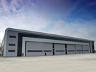 89 metre clear span hangar with extensive office & maintenance facilities for Rizon, Kent UK.
